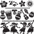 Hawaiian Set with dancers and musical instruments  — Stock Vector