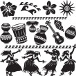 Hawaiian Set with dancers and musical instruments - Stock Vector