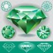 Stock Vector: Green diamond emerald gemstone