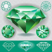 Green diamond emerald gemstone — Stock Vector