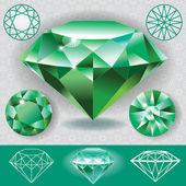 Green diamond emerald gemstone — Stock Vector