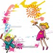 Colorful banner with children drawing — Stock Vector