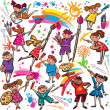 Happy children drawing with brush and colorful crayons — Stock Vector