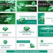 Set of business card template with emerald — Stock Vector