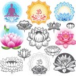 Stock Vector: Set of lotuses and esoteric symbols