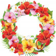Wreath of tropical flower — Stock Vector