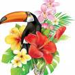 Tropical flowers and toucan — Stock Vector