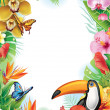 Frame with tropical flowers, butterflies and toucan — Stock Vector #28979839
