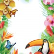 Frame with tropical flowers, butterflies and toucan — Stock Vector