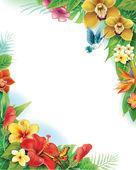 Achtergrond van tropische bloemen en bladeren — Stockvector
