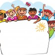 Kids behind the banner — Stock Vector