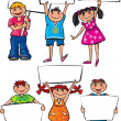 Kids holding blank placard boards — Stock Vector #30403101