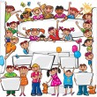 Set of kids standing behind placard — Imagen vectorial
