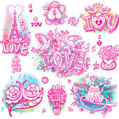 Set of hand drawn love sketchy — Stock Vector