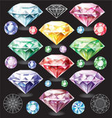 Set of Diamonds of different colors — ストックベクタ