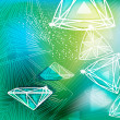 Stock vektor: Abstract green background with linear diamonds cutting