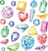 Conjunto de piedras preciosas de diferentes cortes y colores — Vector de stock