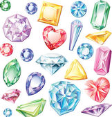 Set of precious stones of different cuts and colors — Vector de stock