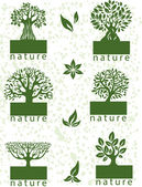 Set labels with trees — Stock Vector