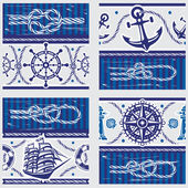 Seampless patterns with Nautical symbols and  marine knots — Stock Vector