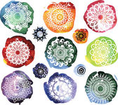 Set of Round Ornament Pattern on watercolor splatters — Stock Vector