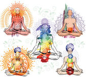 Silhouette of man meditating in lotus position — Vecteur