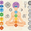 Silhouette of man with chakras and esoteric symbols — Stock Vector #51389681