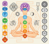 Silhouette of man with chakras and esoteric symbols — Stock Vector