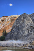 Limestone travertine deposits at mammoth Hot Springs  — Stock Photo