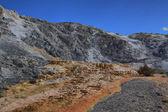 Limestone travertine deposits at mammoth Hot Springs  — Stock Photo