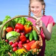 Girl with basket of vegetables — Stock Photo