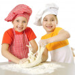 Messy children kneading — Stock Photo