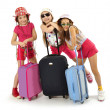 Stock Photo: Little girls off on a trip