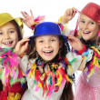 Stock Photo: Three funny carnival kids