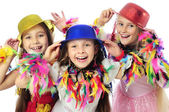 Three funny carnival kids — Stockfoto