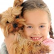 Little girl with dog — Stockfoto