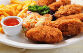Fried chicken nuggets — Stockfoto