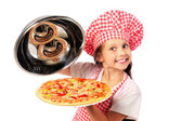 Young girl preparing homemade pizza — Stock Photo