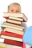 学校用书的女孩 — 图库照片
