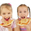 Young girls eating pizza — Stock Photo #19386385