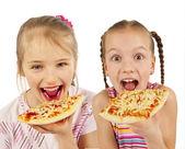 Jovencitas comiendo pizza — Foto de Stock