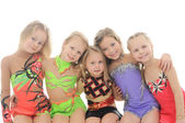 Group of sporty little girls — Foto Stock