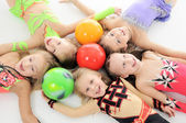 Group of sporty little girls — Stock Photo