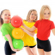 Girls with colored balls  — Stock Photo