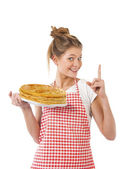 Beautiful young girl with pancakes — Stock Photo