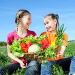 Stock Photo: Kids with basket of vegetables