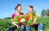 Kids with basket of vegetables — Stock Photo