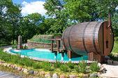 Little pool with sauna — Stock Photo