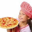 Royalty-Free Stock Photo: Little girl preparing  pizza