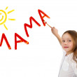 Little girl writing word Mama — Stock Photo